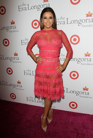 Eva Longoria wearing see-through outfit at Beso