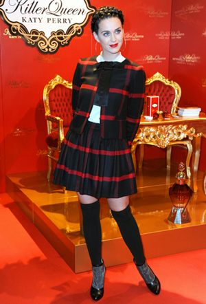 Katy Perry wearing schoolgirl outfit at fragrance launch