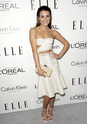 Lea Michele wearing white cutout dress
