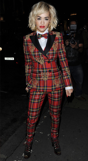 Rita Ora in red plaid suit