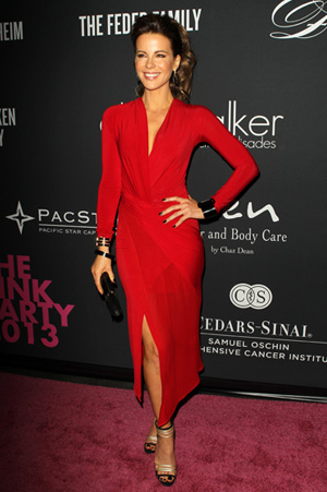 Kate Beckinsale wearing red dress