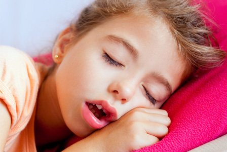 Girl sleeping with mouth open