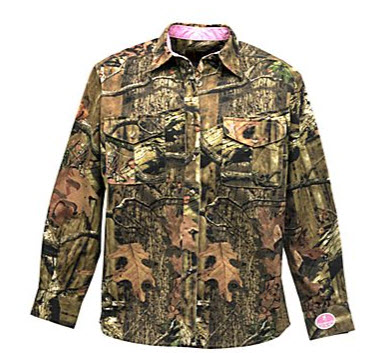 Camo shirt with pink accent