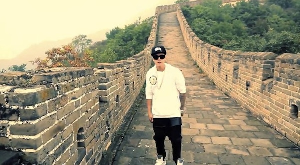 Bieber phones it in — from China
