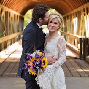 Kelly Clarkson in her wedding dress.