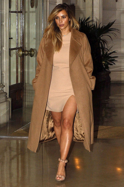 Kim Kardashian's camel coat - Copy her look