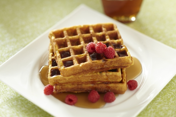 Pumpkin waffles with wheat germ