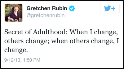 Inspirational tweet from Gretchen Rubin