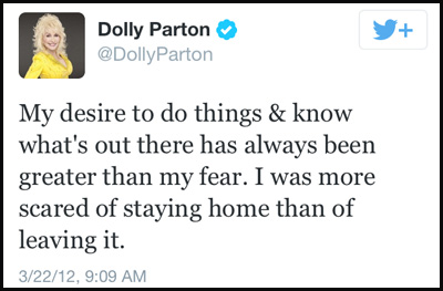 Inspirational tweet from Dolly Parton