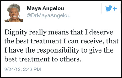 Inspirational tweet from Maya Angelou