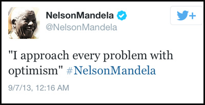 Inspirational tweet from Nelson Mandela