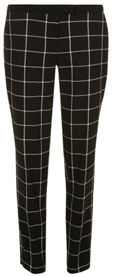 Black and White Check Trousers
