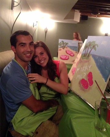 Couple gets engaged at paint nite