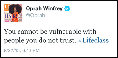 Inspirational tweet from Oprah