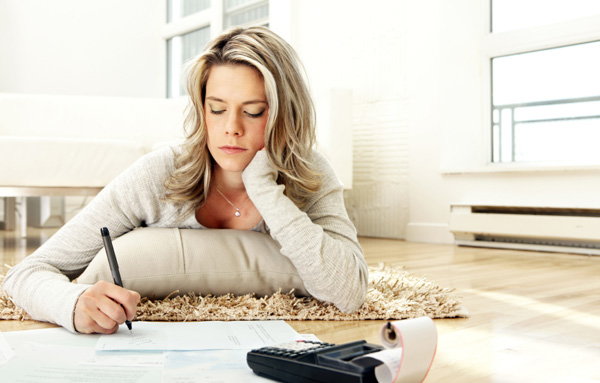 Woman going over home finances