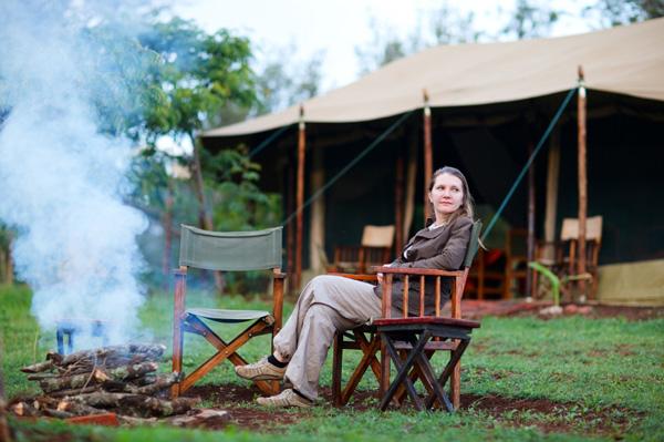 Woman on African safari