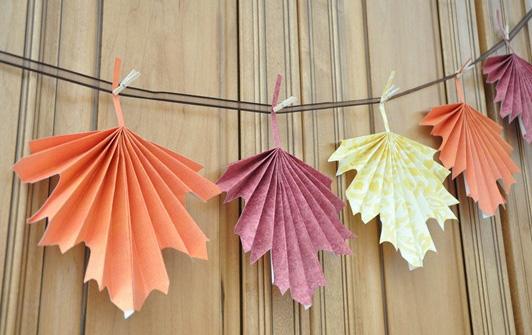 Folded paper fall leaves
