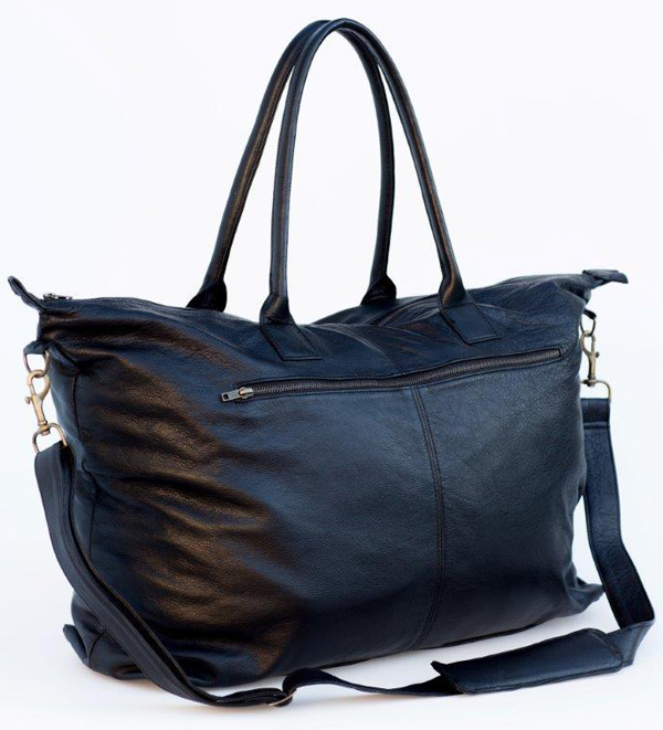 Black Leather Weekender - Mally Leather Bags