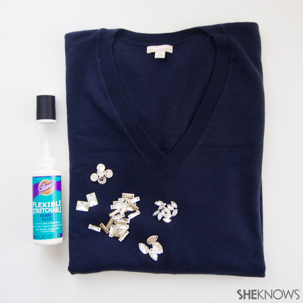 DIY: Add a faux necklace to revive an old sweater | Sheknows.com -- supplies