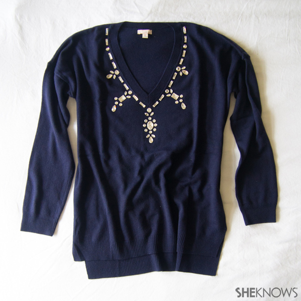 DIY: Add a faux necklace to revive an old sweater | Sheknows.com -- final result
