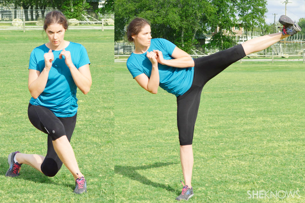 Curtsy lunge to side kick