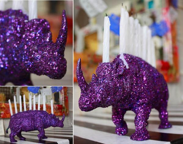 Glitter rhinestone menorah - Hanukkah crafts