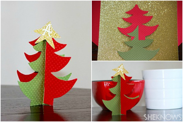3-D paper Christmas tree - Holiday place card holder
