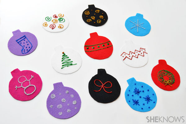 Felt Christmas tree - Decorated ornaments
