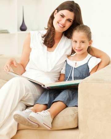 Mom reading with daughter