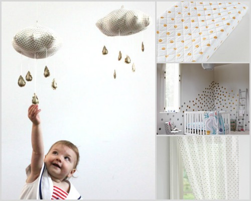 Nursery decor - Metallic polka dots
