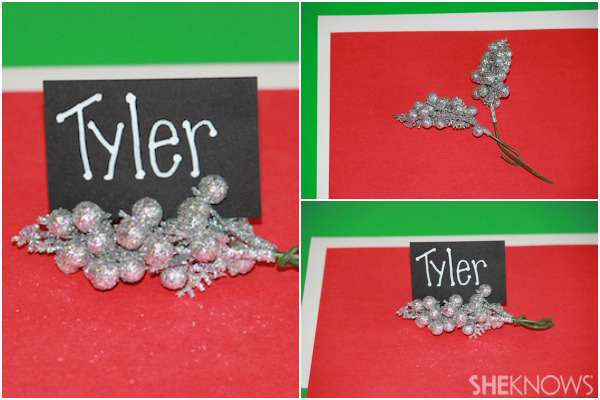Sparkly holiday place card holders