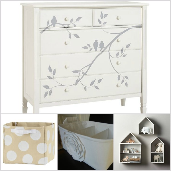 Winter white nursery accessories