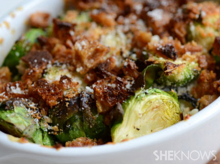 Crispy brussel sprout gratin