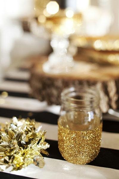 Glitter dipped mason jar