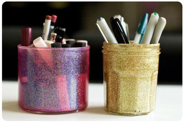 Glittered jars