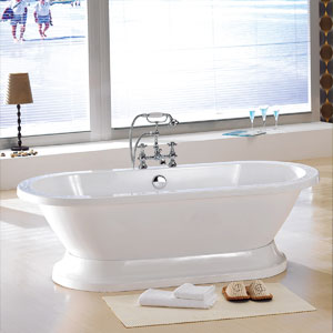 ... freestanding tub is perfect for two. (Signature Hardware, $1,497