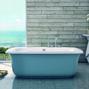 Ice blue soaker tub