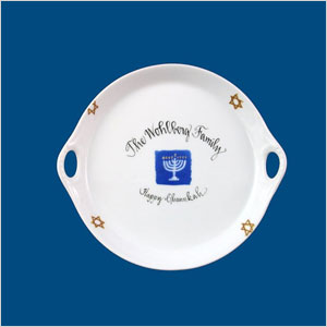 Personalized hand-painted Hanukkah dish