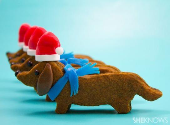 Wiener Dog with Santa hat Cookies