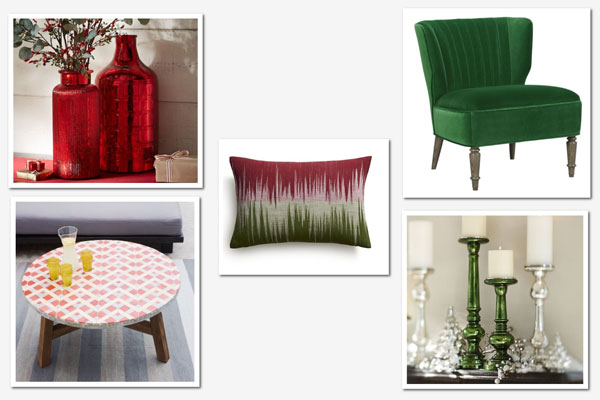 Decorating with red and green: Living room