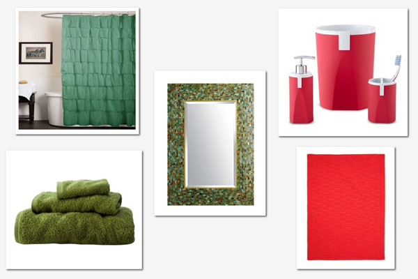 Decorating with red and green: Bathroom