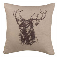 Elk bust accent pillow