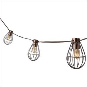 Caged lantern string lights