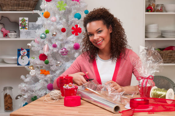 Woman wrapping gifts