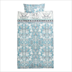 Turquoise blue patterned duvet