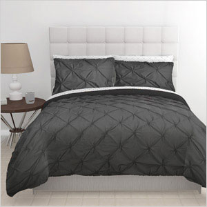 Gray pintuck duvet