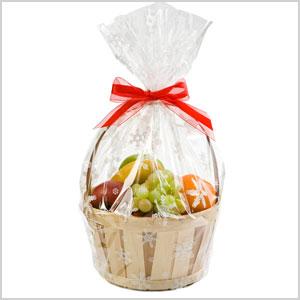 Cellophane snowflake basket bag
