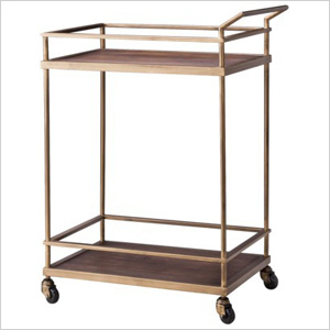 Brass and wood serving cart
