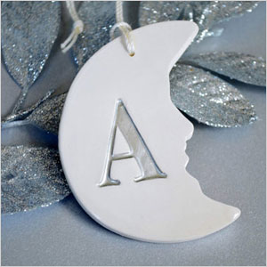 Delicate moon with initial ornament