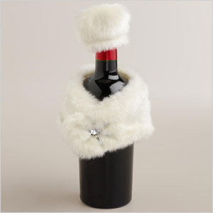 Fur wine bottle wrap